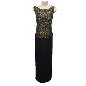Jessica Howard Black & Gold Formal Gown